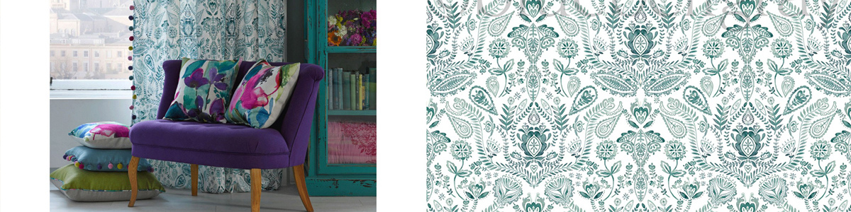 Bluebellgray Fabric Aria Teal